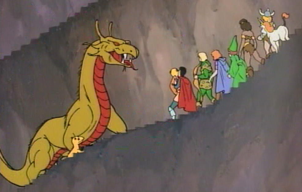 The party encounters a dragon.