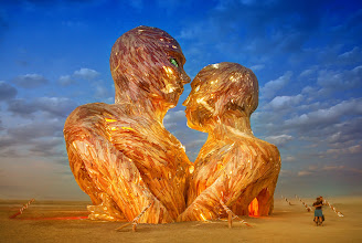 """Photo: Finally got some internet at Burning Man! Here's one of my favorite new art pieces here. It's called """"Embrace"""" — they are going to burn it tomorrow morning at sunrise. I can't decide if I am gonna wake up early or just stay out all night! I'll figure that out later!  (more pictures coming soon... I needs more internet... also sorry for not responding to emails and stuff - just really off the grid here!)"""