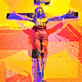 Pop Art Crucifix by Roger Armstrong - Digital Art People ( modernism, religion, crucifix, pop art, faith, jesus, christ )