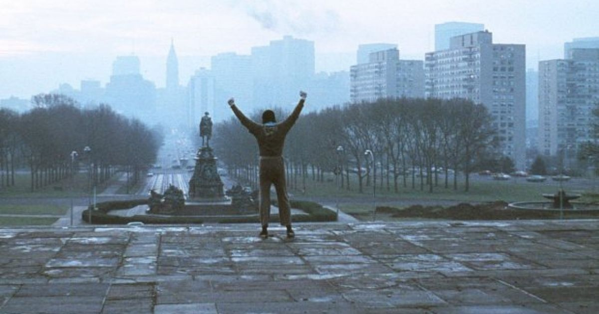 Rocky Balboa on the Rocky Steps from Rocky (1976).