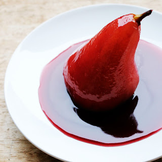 Spiced Red Wine Poached Pears filled with Mascarpone Cream