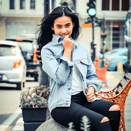 Girl in Denim by Raymond Maulany - People Portraits of Women ( beautiful, denim, potrait, city, gorgeous, student, talent, model, girl, cantik, smile )