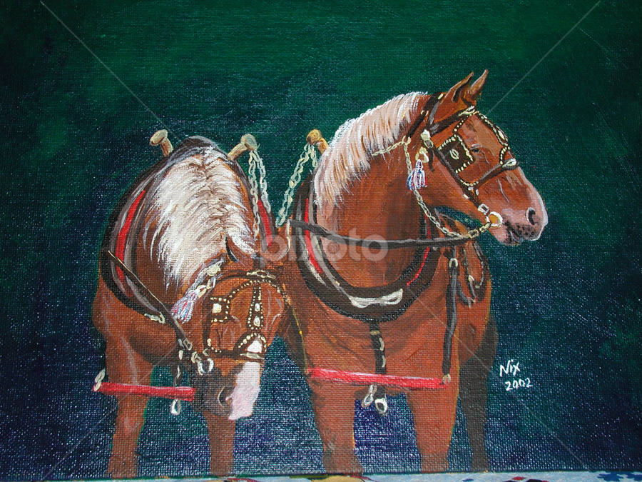 The Team by Jackie Nix - Painting All Painting ( draft, horses, harness, acrylic, team,  )