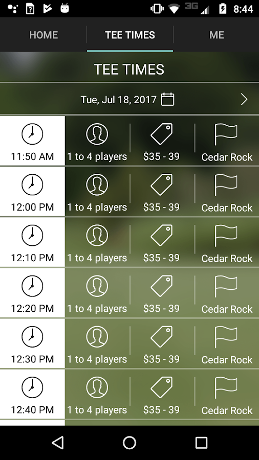 Cedar Rock Golf Tee Times- screenshot