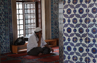 Photo: Day 115 -  A Worshipper Deep in Thought at The Rustem Pasa Mosque