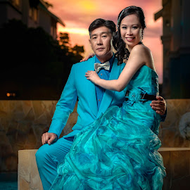Orange and Teal by Wang David - Wedding Bride & Groom ( david wang, bonjangles, wedding, the wedding boss, twb )