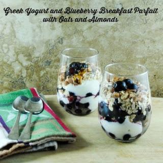 Greek Yogurt Parfaits with Blueberries, Oats and Almonds.