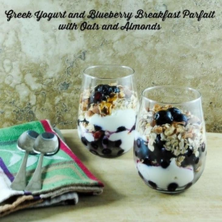 Greek Yogurt Parfaits with Blueberries, Oats and Almonds