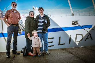 Photo: Rasmus, Gramps, Nonni and Josiah beside the new Elida ship