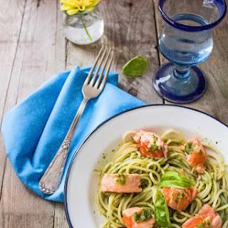 Fresh Salmon Spaghetti with Pesto Sauce.