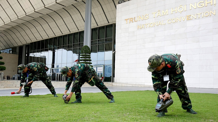 Vietnamese soldiers conduct a security check outside the National Convention Centre, the venue for the World Economic Forum on Asean, in Hanoi, Vietnam, September 10 2018. Picture: REUTERS