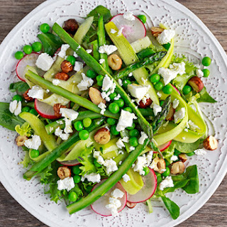 Fresh Greens with Asparagus Ribbons, Peas and Goat Cheese Recipe