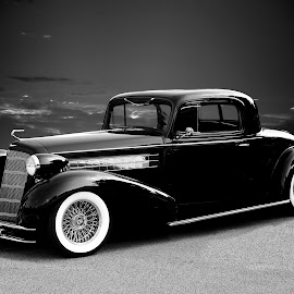 Caddy Coupe by JEFFREY LORBER - Black & White Objects & Still Life ( jeffrey lorber, rust 'n chrome, black car, lorebrphoto, coupe, cadillac )