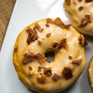 Pancake Batter Donuts with Maple Bacon Glaze.