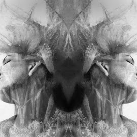 two sides by Kathleen Devai - Digital Art People ( fantasy, story, life, monochrome, meaning, portrait )