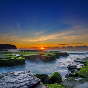 Sunrise at Turimetta Beach by Anton Subiyanto - Landscapes Beaches ( water, colorful, sunset, sunrise, beach, landscape, morning, longexposure, slow shutter )