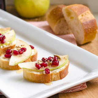 Pomegrante, Pear and Goat Cheese Crostini