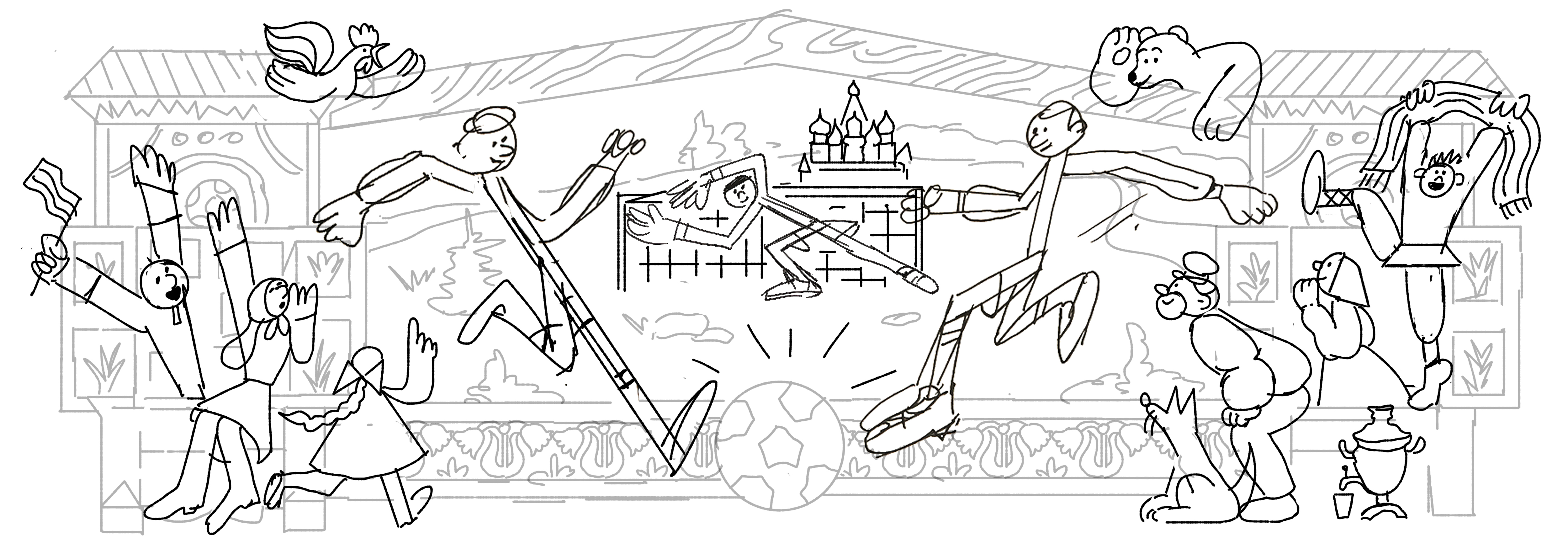 Russia World Cup Doodle Sketch