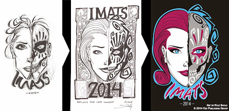 Photo: IMATS 2014 Tour Tshirt. Shows the process from initial thumbnail sketch, to tight comp for approval, to final art. Final art created in Adobe Illustrator.