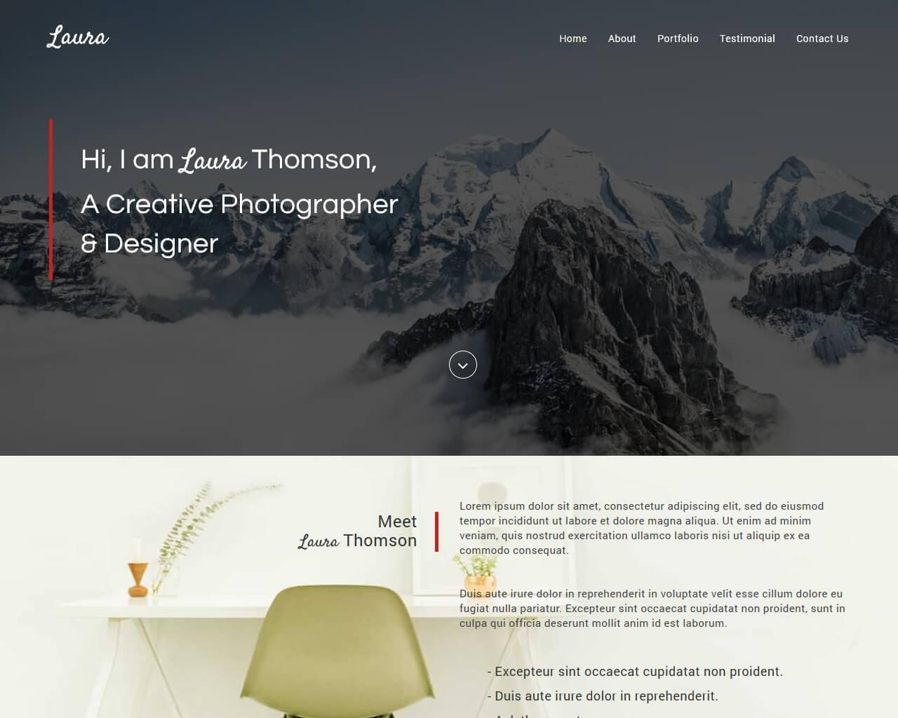 Laura Free Creative Bootstrap Theme | BootstrapTaste