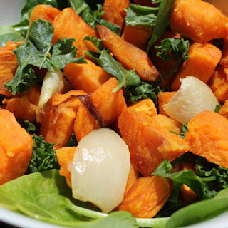 Roasted Sweet Potato Bowl With Kale and Baby Spinach – Gluten Free, Paleo.