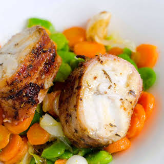 Roasted Bacon-Wrapped Fish with Vegetable.