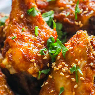Sweet and Spicy Crispy Baked Chicken Wings.