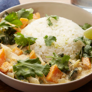 Thai Green Coconut Curry with Sweet Potato & Jasmine Rice.