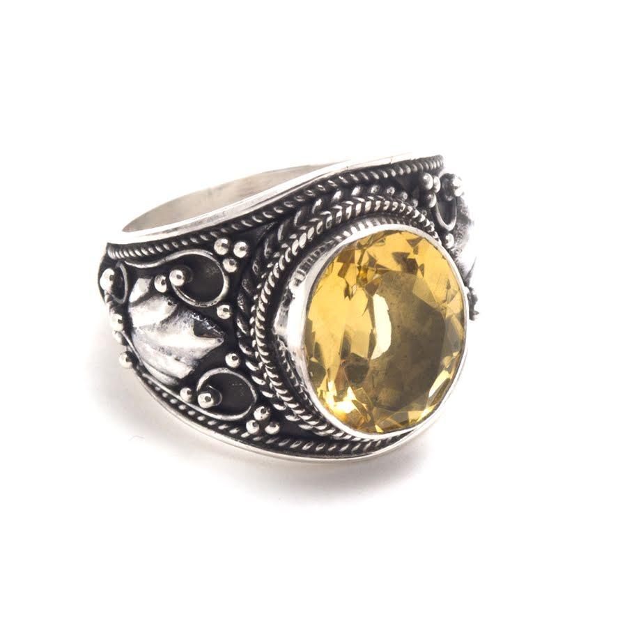 Citrin, bred silverring med filigran