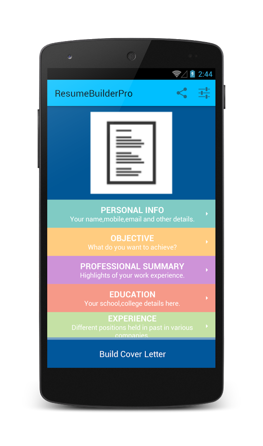 resume builder screenshot - Mobile Resume Builder