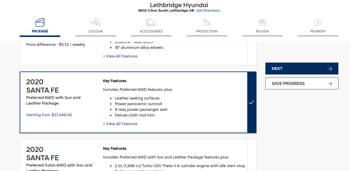 Select vehicle package online with Lethbridge Hyundai