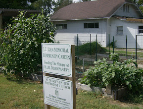 Photo: Our sign, in front of Okra and Eggplant plants, October 2010