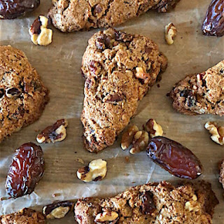 Healthy Whole Grain Scones with Coconut, Dates, and Walnuts.