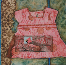 "Photo: Raleigh Means Field of Birds, 16 x 16"", collagraph, a la poupee, some hand coloring"