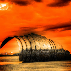 Shell in the sunset by Steve Bampton - Artistic Objects Other Objects ( sculpture, reflection, sunset, beach, glow )