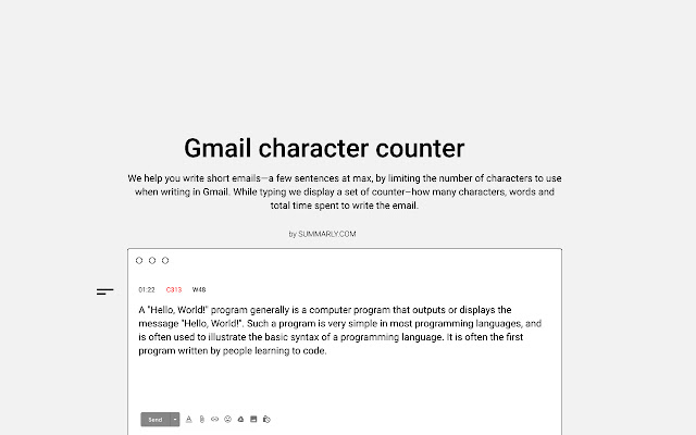 Gmail character counter