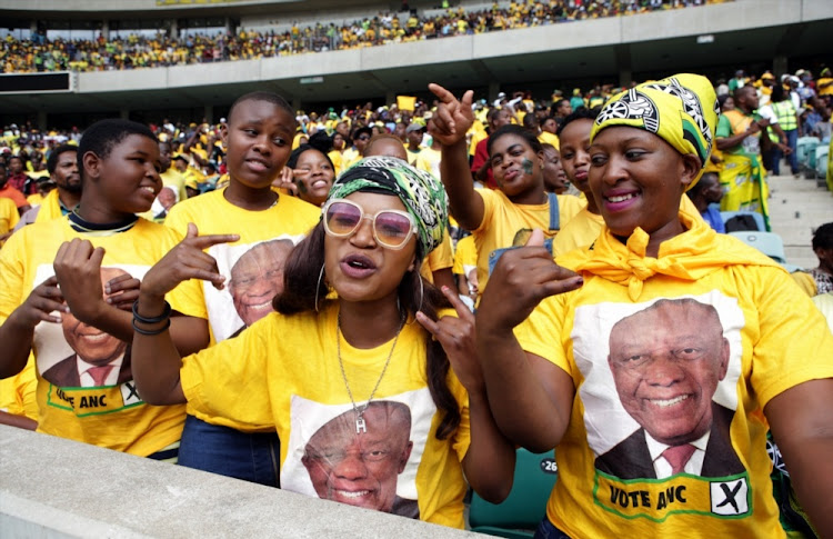 ANC supporters sing during the party's election manifesto launch at the Moses Mabhida Stadium in Durban on Saturday, 12 January 2019. Photo: GALLO IMAGES/PHIL MAGAKOE