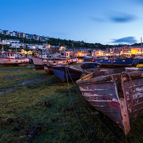 Mevagisey Harbour at low tide by Wim De Koster - City,  Street & Park  Night