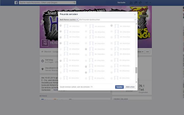 Parties - Alle Freunde Einladen auf Facebook