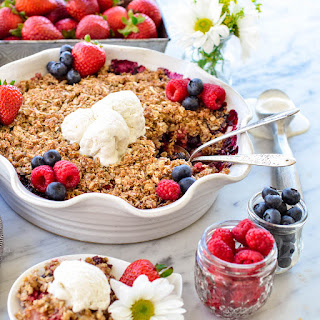 Healthy Berry Crisp with a Coconut Oat Crumb Topping.