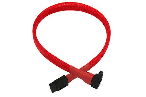 SATA III, 1 rett og 1 vinklet kontakt, kabelstrømpe, 30 cm, rød