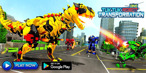 Tuk Tuk Auto Rickshaw Transform Dinosaur Robot screenshots 3