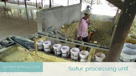 Sulfur processing factory Kawah Ijen -ijenminertour.com