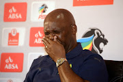 Mamelodi Sundowns head coach Pitso Mosimane reacts during a press conference at the PSL Offices in Parktown, Johannesburg, where he was named coach of the the month for April on May 09, 2018.