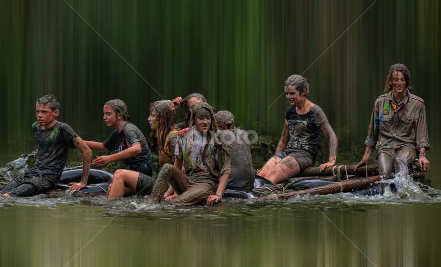 drifting on the pond by Ghislain Vancampenhoudt - People Group/Corporate ( mud, wet, game, rafting, pond )