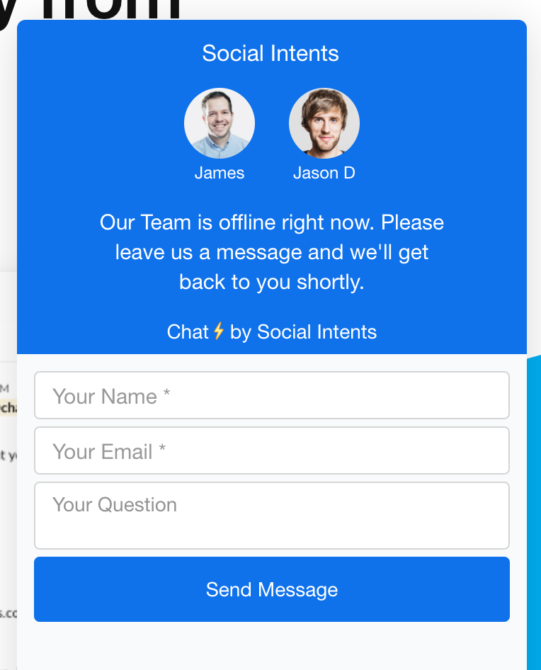An example of a highly personalized sales live chat widget.