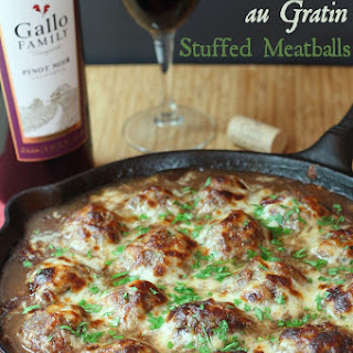 French Onion Soup au Gratin Stuffed Meatballs for #SundaySupper with @GalloFamily