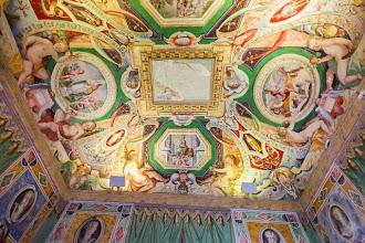 """Photo: Ceiling in the Room of Glory or """"Sala Gloria"""" in Villa d'Este in Tivoli, Lazio, Italy"""