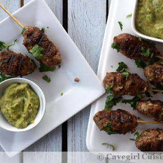 Curried Venison and Pork Kebabs with Avocado Dipping Sauce.