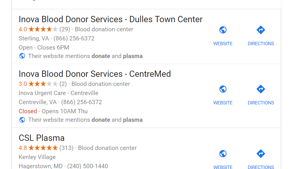 how to find plasma donation centers
